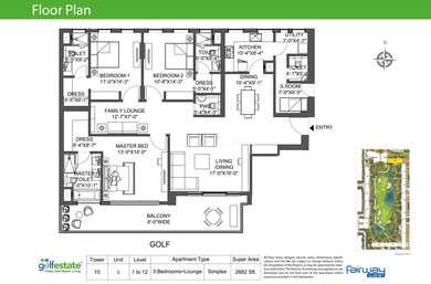 3 BHK Apartment in M3M Golf Estate