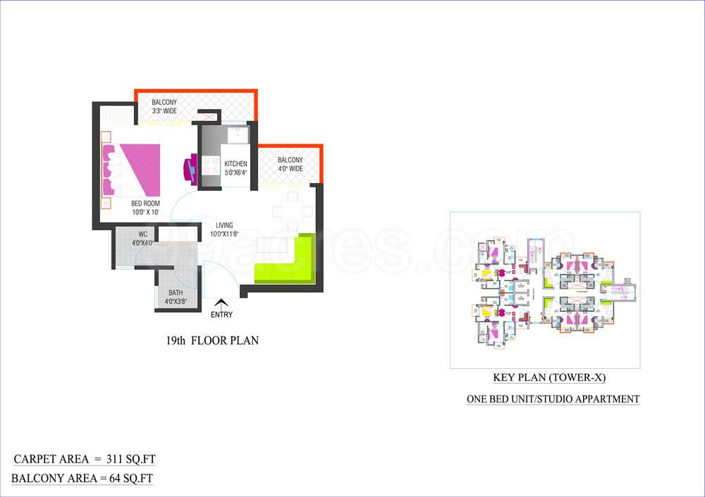 Carpet Area 311 Sq Ft Studio Apartment