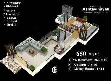 1 BHK Apartment in Ashtavinayak Palm City