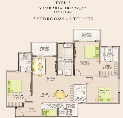 3BHK5 Super Area 1825 Sq Ft Apartment