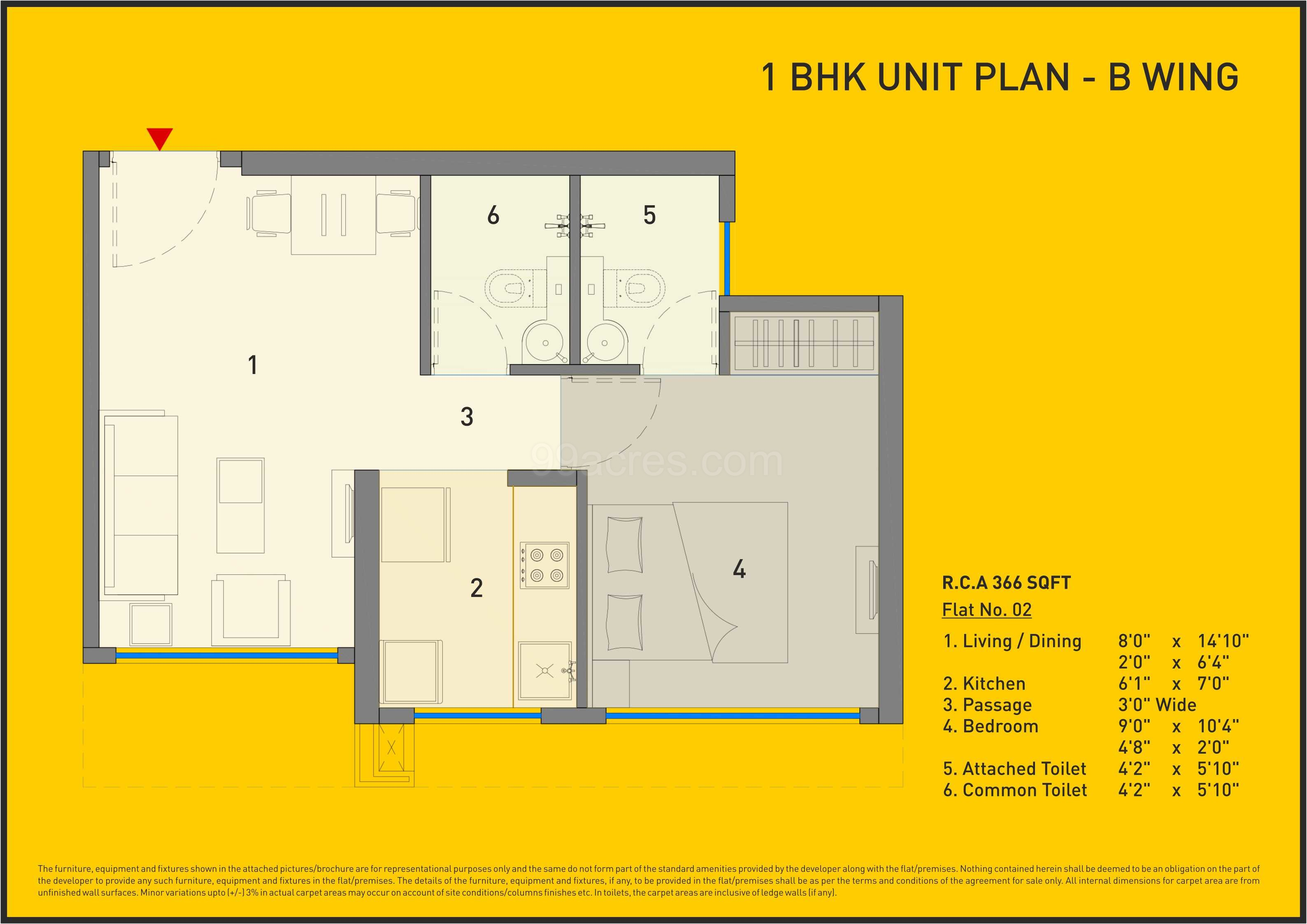 Carpet Area 366 Sq Ft Apartment
