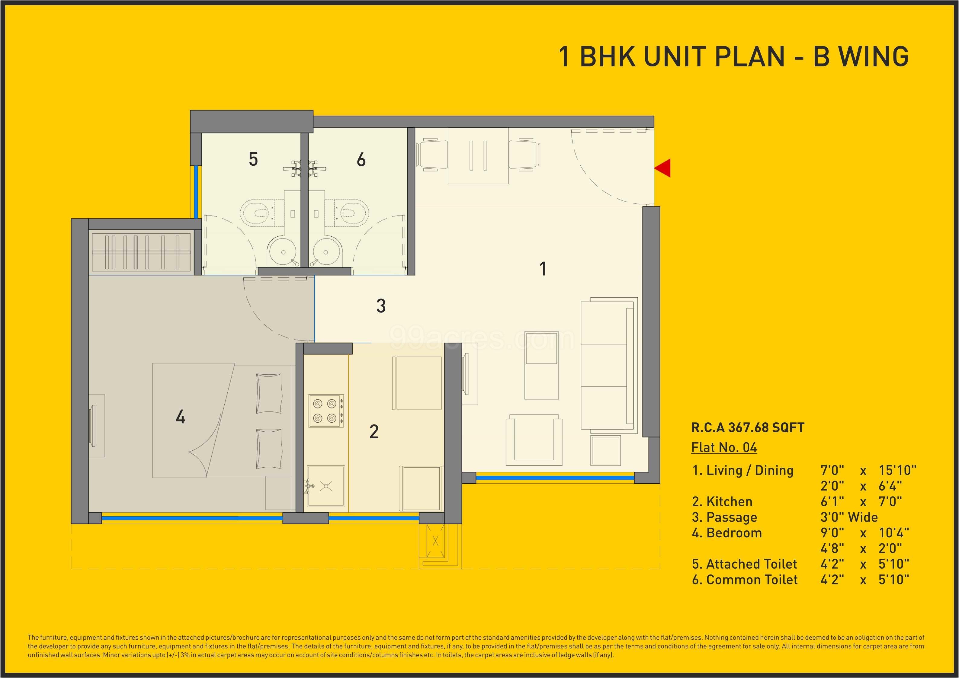 Carpet Area 367 68 Sq Ft Apartment