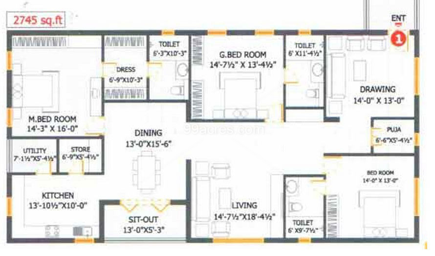 Aakruti avenues builders aakruti richmond villa floor plan 3bhk house plan