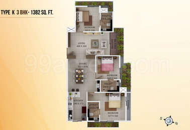 3 BHK Apartment in ABAD Mayfair