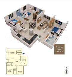 3 BHK Apartment in ABAD West Wood