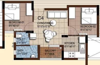 2 BHK Apartment in Akshaya Tango