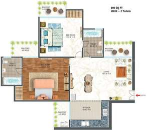 2 BHK Apartment in Antriksh Urban Greek