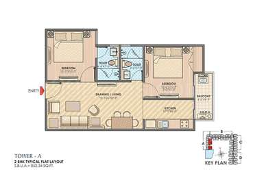 2 BHK Apartment in Anukampa Sky Lounges