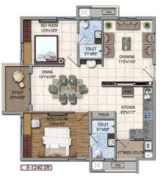 2 BHK Apartment in Aparna Hillpark Silver Oaks