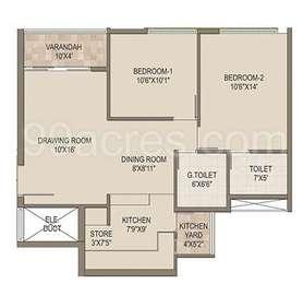 2 BHK Apartment in Arvind Skylands
