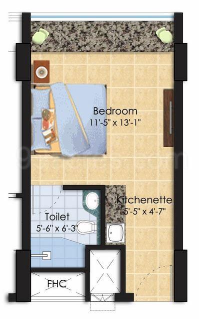 Super Area 350 Sq Ft Studio Apartment