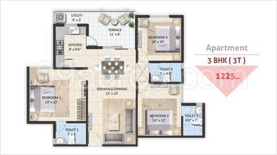 Avinash Capital Homes 2 - 3BHK(27), Super Area: 1225 sq ft, Apartment