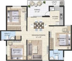 Avinash Capital Homes 2 - 3BHK+3T(24), Super Area: 1127 sq ft, Apartment