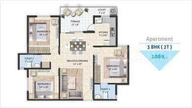 Avinash Capital Homes 2 - 3BHK+2T(23), Super Area: 1089 sq ft, Apartment