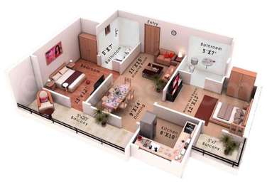 2 BHK Apartment in Colors Krisha Heights