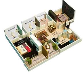 Colors Krisha Heights - 2BHK+2T+Study(2), Super Area: 1260 sq ft, Apartment