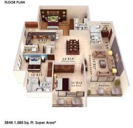 Colors Krisha Heights - 3BHK+3T+Store(3), Super Area: 1580 sq ft, Apartment