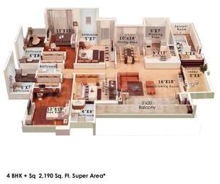 Colors Krisha Heights - 4BHK+5T+Servant Room(5), Super Area: 2190 sq ft, Apartment