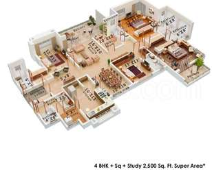 Colors Krisha Heights - 4BHK+4T+Study+Servant Room(6), Super Area: 2500 sq ft, Apartment