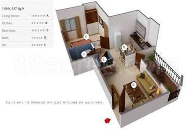 Dreams Aakruti - 1BHK+1T(12), Super Area: 517 sq ft, Apartment