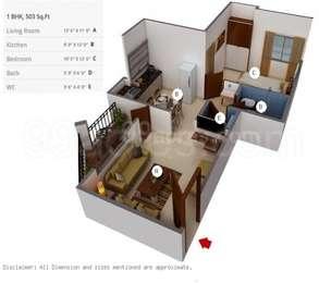 1 BHK Apartment in Dreams Aakruti