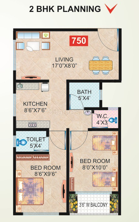 Durga realities builders durga residency floor plan 750 sq ft
