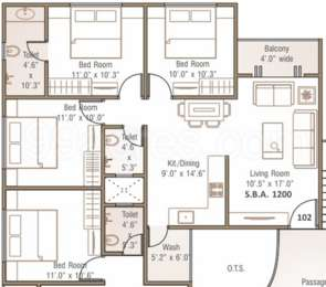 3 BHK Apartment in EARTH - IV