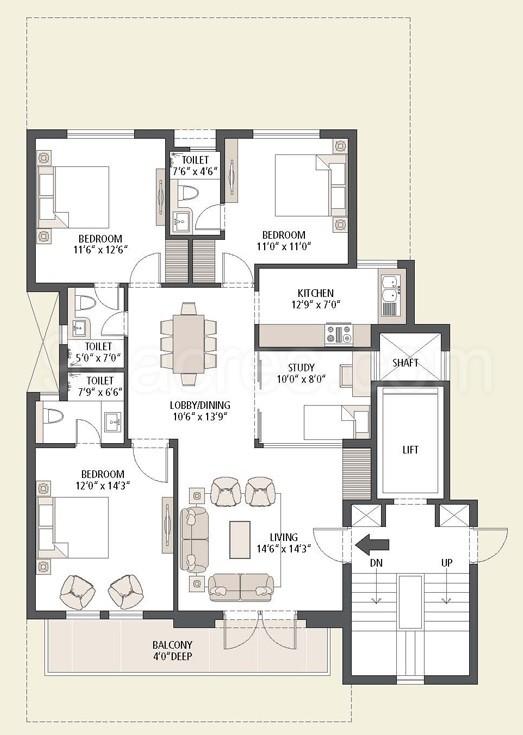 Super Area: 1600 Sq Ft, Floor ...