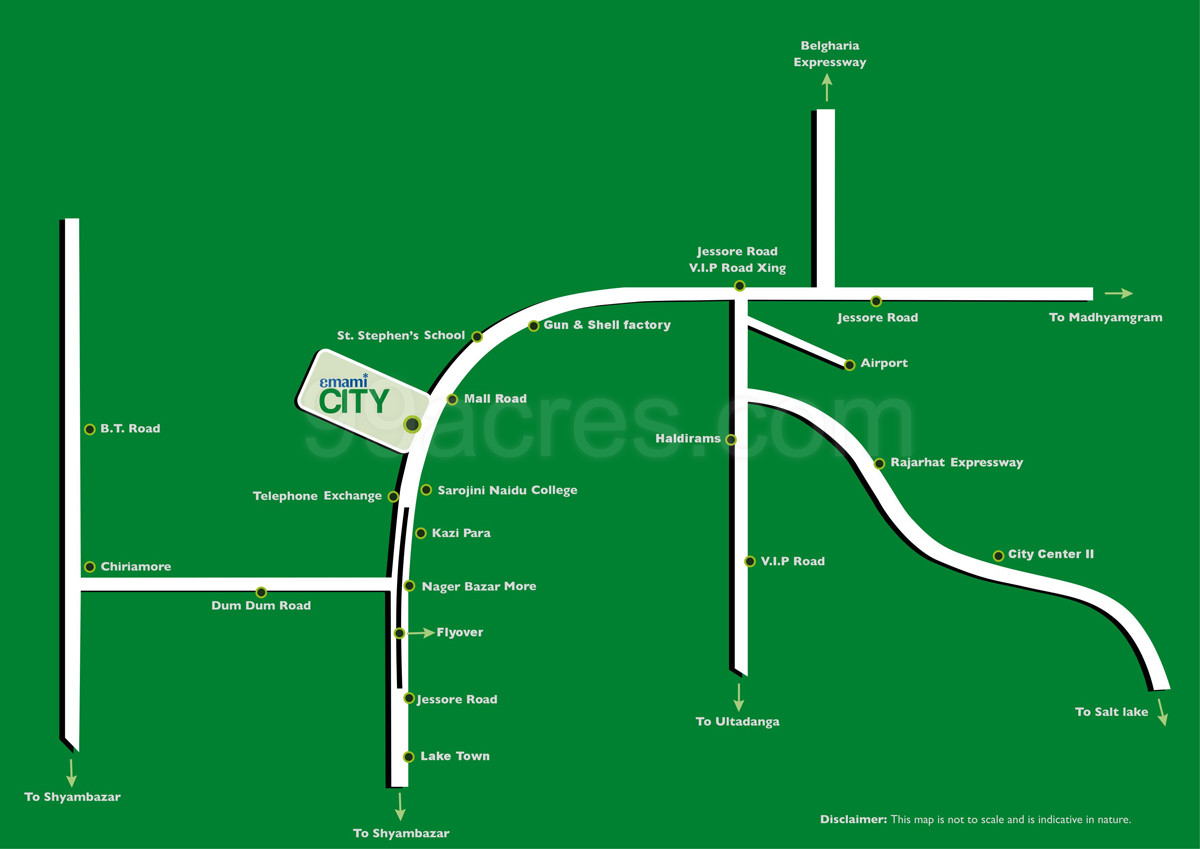 Emami Realty Emami City Map Emami City Jessore Road Kolkata North