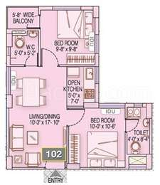 2 BHK Apartment in Fortune Heights