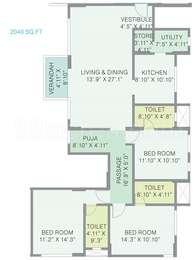 3 BHK Apartment in Gala Gardenia