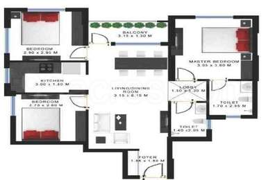 Godrej Prakriti - 3BHK+2T (13), Super Area: 1101 sq ft, Apartment (1)