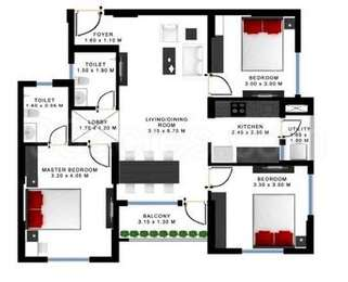 Godrej Prakriti - 3BHK+2T(16), Super Area: 1254 sq ft, Apartment