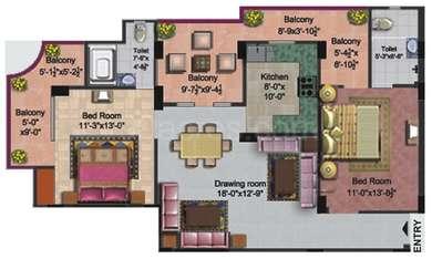 2 BHK Apartment in Goel Pushpkrishn Palace