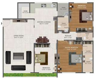 3 BHK Apartment in Green City Gold