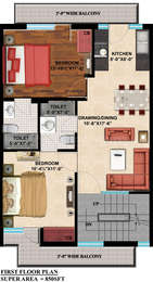 2 BHK Independent Floor in GBP Rosewood Estate
