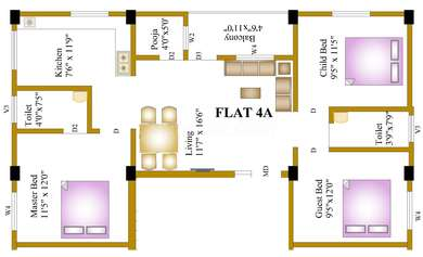 3 BHK Apartment in Guru Shanmugaa