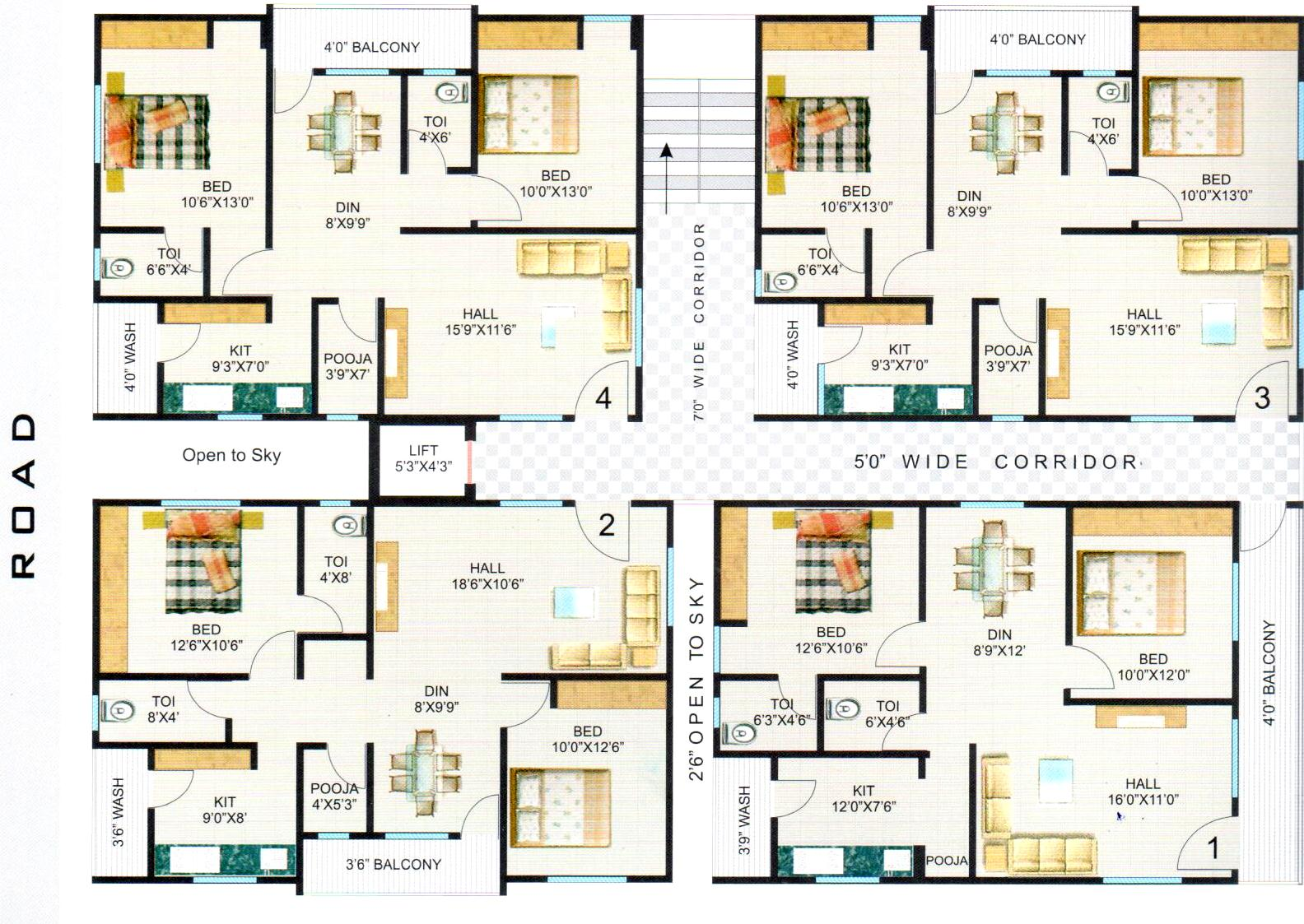 Hari hara heights floor plan hari hara heights nizampet 4 floor apartment plan