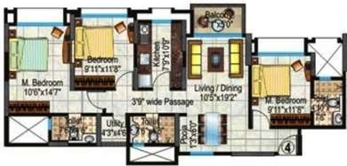 Hiranandani Heritage - 3BR-3T ( Rivona A )(4), Super Area: 1385 sq ft, Apartment