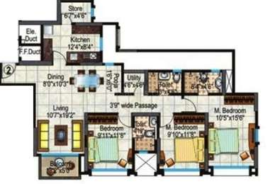 Hiranandani Heritage - 3BR-3T ( Rivona B )(5), Super Area: 1570 sq ft, Apartment