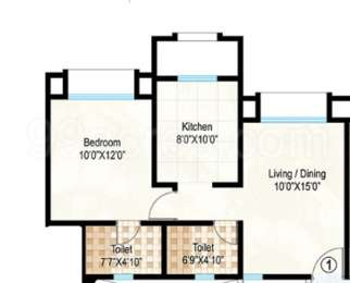 Hiranandani Heritage - 1BHK+2T(1), Super Area: 448 sq ft, Apartment