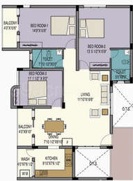 3 BHK Apartment in Creations Valencia