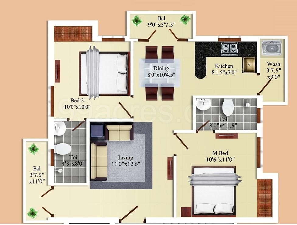 Super Area 1010 Sq Ft Apartment 2