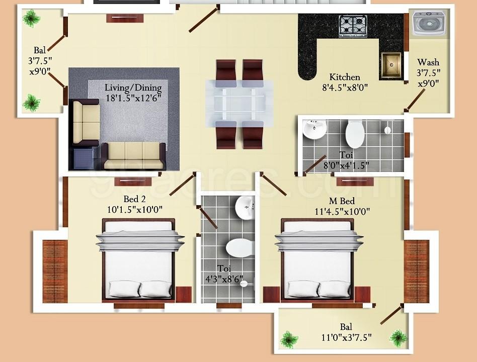 Super Area 1010 Sq Ft Apartment 1