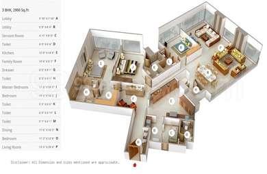 3 BHK Apartment in Indiabulls Sky