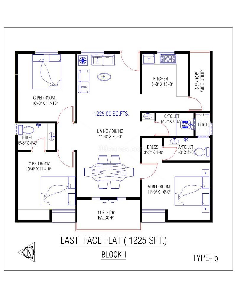 Marvellous 3 Bhk Simple Plan For House Contemporary Best Idea