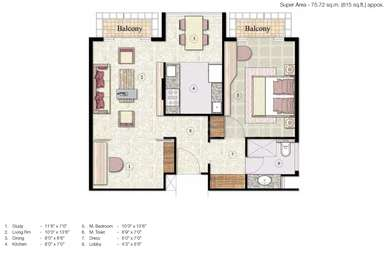 1 BHK Apartment in Jaypee Greens The Pavilion Court