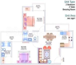 2 BHK Apartment in JM Orchid