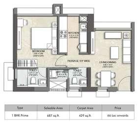 1 BHK Apartment in Kalpataru Immensa