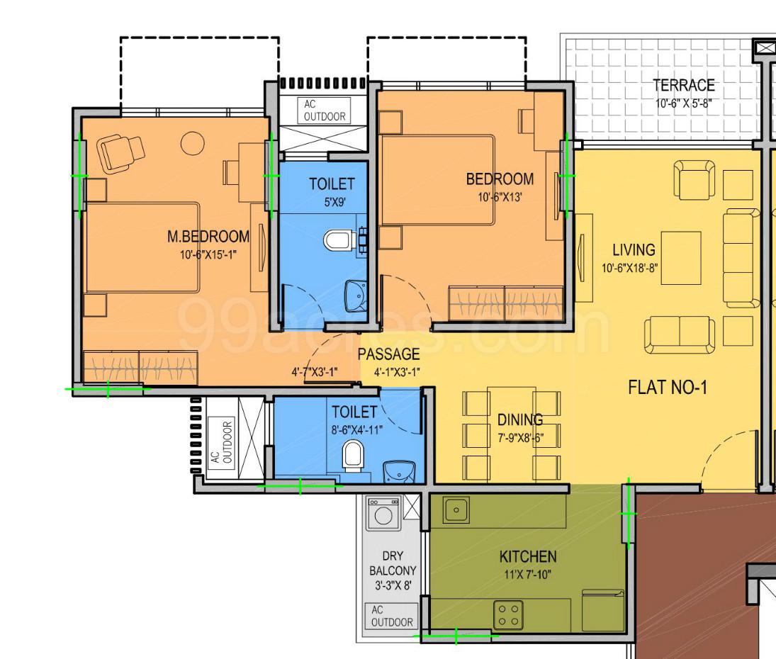 Carpet Area 850 89 Sq Ft Apartment